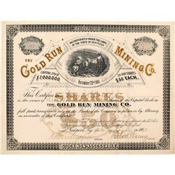Gold Run Mining Co. Stock Certificate (Placer County)