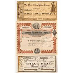 Three Different California Mining Stock Certificates