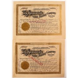 Anaconda Gold Mining Company Stock Certificate Pair (One signed by David Moffat)