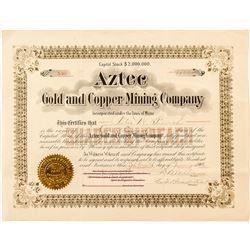 Aztec Gold and Copper Mining Company Stock Certificate