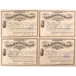 Four San Juan Consolidated Mining Co. Stock Certificates (Del Norte)