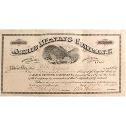 Albe Mining Co. Stock Certificate, Deadwood, Dakota Territory 1886
