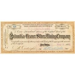 Columbia and Beaver Silver Mining Stock Certificate