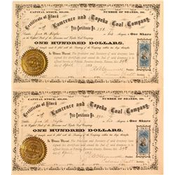 Lawrence and Topeka Coal Company Certificates