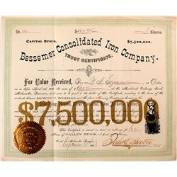 Bessemer Consolidated Iron Company Stock Certificate