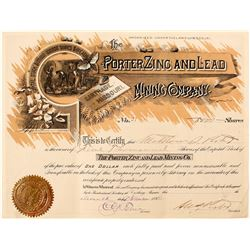 Porter Zinc and Lead Mining Company Stock Certificate (Carthage, Missouri)