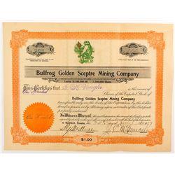 Bullfrog Golden Sceptre Mining Company Certificate
