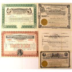 Group of 5 Bullfrog, Nevada Mining Stocks Issued 1905-1907