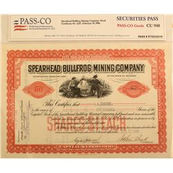 Spearhead Bullfrog Mining Company Stock Certificate