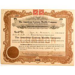 American Carrera Marble Co. Stock Certificate, Carrara, NV 1915