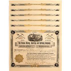 Vulcan Mining, Smelting & Refining Stock Certificates, (6) Cherry Creek, NV