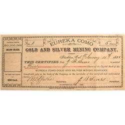 Eureka Como Gold & Silver M.C. Stock Certificate #1, 1888