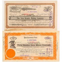Veta Grand Mining Stock Certificates