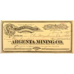 Argenta Mining Co. Stock Certificate