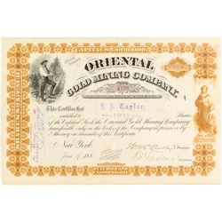Oriental Gold Mining Company Stock Certificate