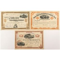 Three Different State Line Gold Mining Co. Stock Certificates