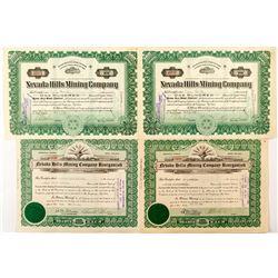 4 Nevada Hills Mining Company Stock Certificates (Fairview, Nevada)
