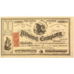 South Overman Mining Company Stock Certificate-Territorial (Gold Hill, Nevada)