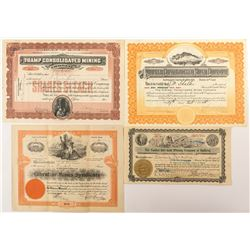 4 Different Bullfrog District Mining Stock Certificates (Goldfield, NV)