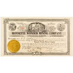 Monnette Wonder Mining Company Stock Certificate