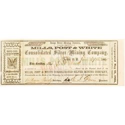 Mills, Post & White Consolidated Silver Mining Co. Certificate, 1865