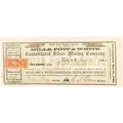 Mills, Post & White Consolidated Silver Mining Company Certificate (Territorial)