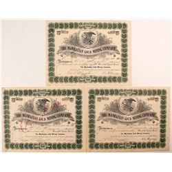 Three Manhattan Gold Mining Company Stock Certificates