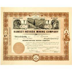 Rare Ramsey-Nevada Mining Company Stock Certificate