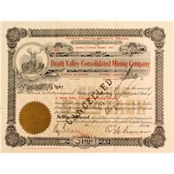 Death Valley Consolidated Mining Company Stock Certificate