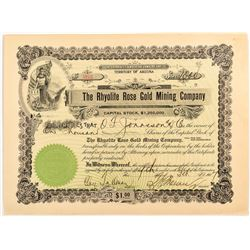 Rhyolite Rose Gold Mining Company Certificate
