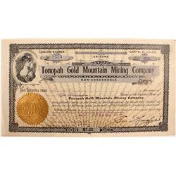 Tonopah Gold Mountain Mine Company Stock Signed by Wingfield