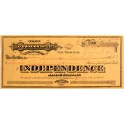 Independence Mining Co. Stock, Tuscarora District, Nevada 1879