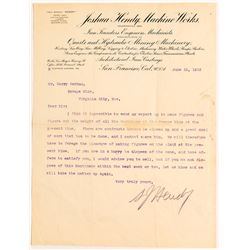 Savage Mine in Virginia City Looking to Sell Its Machinery (1903 Letter)