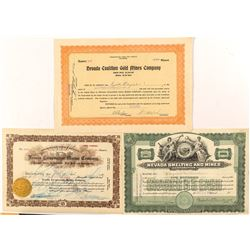 Three Different Nevada Mining Stock Certificates