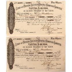 Two Star of Nevada Silver Mining Company Stock Certificates