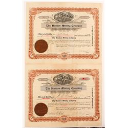 Hunton Mining Company Stock Certificate Pair
