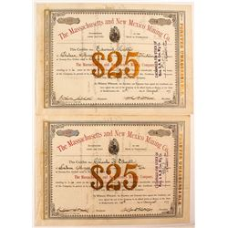 Massachusetts and New Mexico Mining Co. Stock Certificates