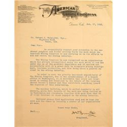 D. W. Brunton (Compass) Signed Letter, American Mining Congress