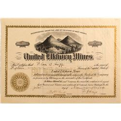 United Elkhorn Mines Stock Certificate, Baker, Oregon 1904