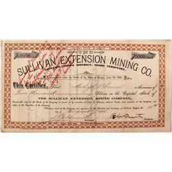 Sullivan Extension Mining Company Stock Certificate (Idaho Territory)