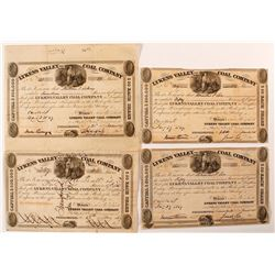 Four Lykens Valley Coal Company Stock Certificates (Site of Bad Mine Fire Disaster)