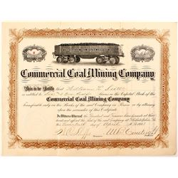 Commercial Coal Mining Company Stock Certificate (Coal Car Vignette)