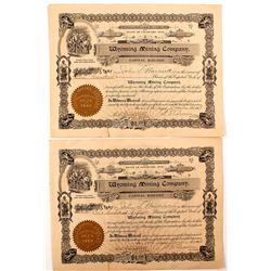 Wyoming Mining Company Stock Certificate Pair