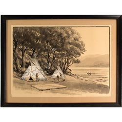 Watercolor of Native American Scene