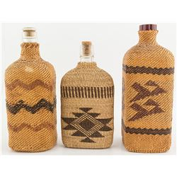 Three Hupa Woven Bottle Baskets