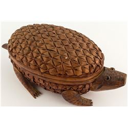 Wicker, Bamboo and Wood Turtle Basket