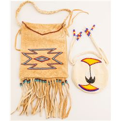 Paiute Beaded Buckskin Fringed Bag & Small Beaded Bag