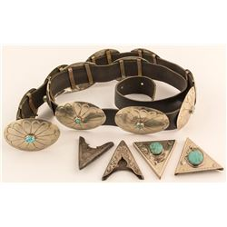 Silver and Turquoise Concho Belt & 2 Sets of Collar Points