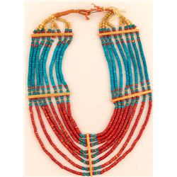 Vintage Turquoise and Coral Beaded Necklace