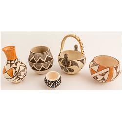 Five Acoma Pots
